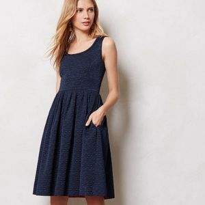 Orla Kiely Quilted Floral Fit and Flare Dress Navy